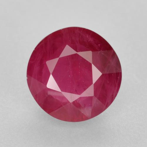 Pinkish Red Ruby Gem - 1ct Round Facet (ID: 495079)