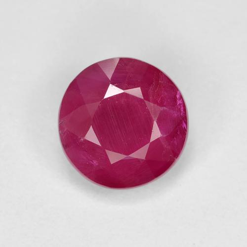 1.2ct Round Facet Pinkish Red Ruby Gem (ID: 495085)