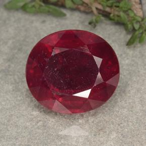 Red Ruby Gem - 17.7ct Oval Facet (ID: 495275)