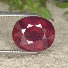 Red Ruby Gem - 11.8ct Oval Facet (ID: 495286)