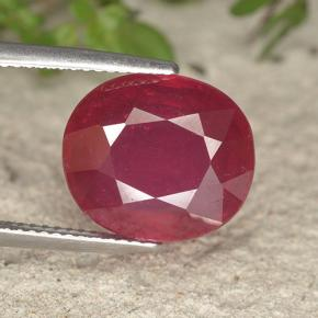 Red Ruby Gem - 10.4ct Oval Facet (ID: 495292)