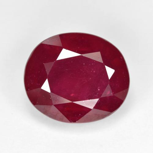 Red Ruby Gem - 11.9ct Oval Facet (ID: 495294)