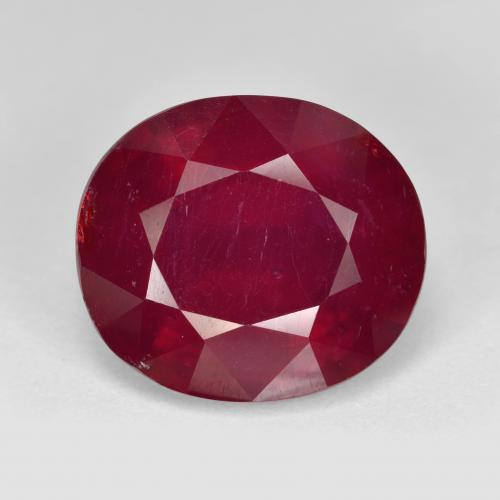 Red Ruby Gem - 13.5ct Oval Facet (ID: 495296)