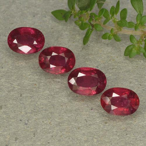 Pinkish Red Ruby Gem - 1.3ct Oval Facet (ID: 495342)