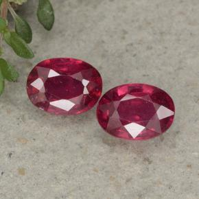 Pinkish Red Ruby Gem - 1ct Oval Facet (ID: 495379)