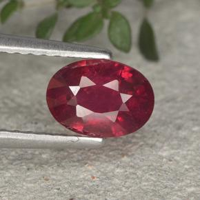 Bright Red Ruby Gem - 1.1ct Oval Facet (ID: 495522)