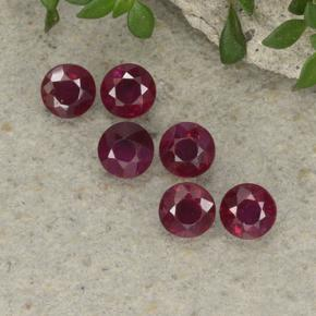 0.26 ct Round Facet Pinkish Red Ruby Gemstone 3.58 mm  (Product ID: 495661)