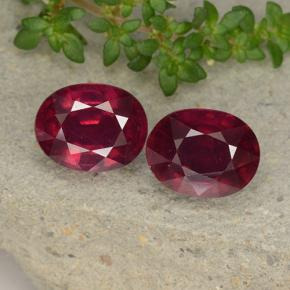 Pinkish Red Ruby Gem - 3ct Oval Facet (ID: 495797)