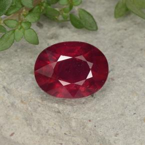 thumb image of 2.6ct Oval Facet Pinkish Red Ruby (ID: 495808)