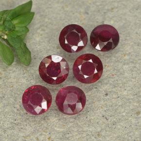 Pinkish Red Ruby Gem - 0.2ct Round Facet (ID: 496002)