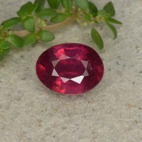 Pinkish Red Ruby Gem - 1.4ct Oval Facet (ID: 496037)