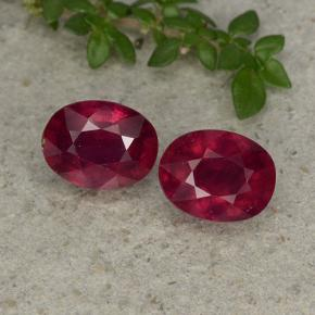 Bright Red Ruby Gem - 2ct Oval Facet (ID: 496050)