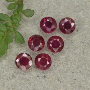Pinkish Red Ruby Gem - 0.2ct Round Facet (ID: 496170)