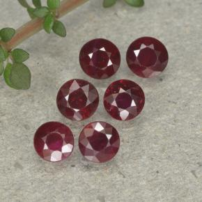 Pinkish Red Ruby Gem - 0.3ct Round Facet (ID: 496175)