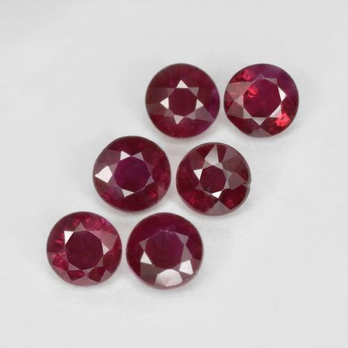 Pinkish Red Ruby Gem - 0.2ct Round Facet (ID: 496205)