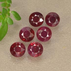 Pinkish Red Ruby Gem - 0.3ct Round Facet (ID: 496206)