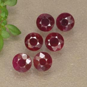 Pinkish Red Ruby Gem - 0.3ct Round Facet (ID: 496212)
