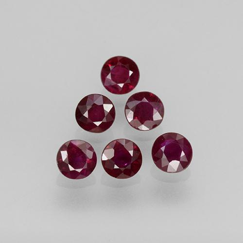 Pinkish Red Ruby Gem - 0.2ct Round Facet (ID: 496213)