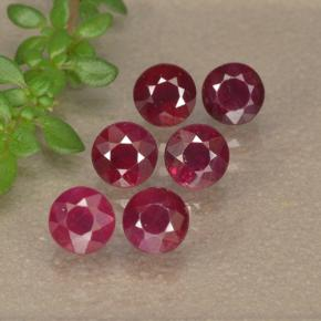 Pinkish Red Ruby Gem - 0.3ct Round Facet (ID: 496214)