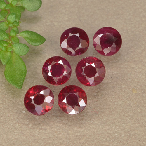 Pinkish Red Ruby Gem - 0.2ct Round Facet (ID: 496215)