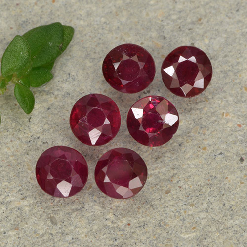 Pinkish Red Ruby Gem - 0.2ct Round Facet (ID: 496237)