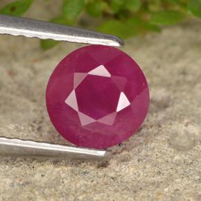 Pinkish Red Ruby Gem - 1.3ct Round Facet (ID: 496619)