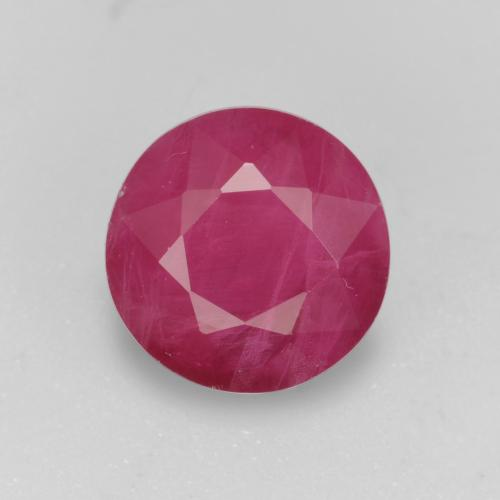 Pinkish Red Ruby Gem - 1.1ct Round Facet (ID: 496647)
