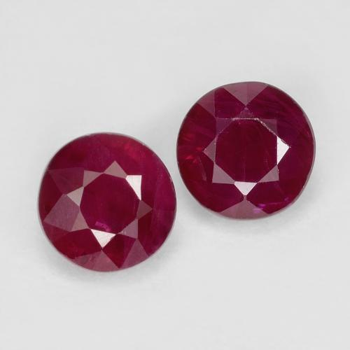 Pinkish Red Ruby Gem - 0.5ct Round Facet (ID: 496695)