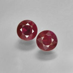 Pinkish Red Ruby Gem - 0.4ct Round Facet (ID: 496696)