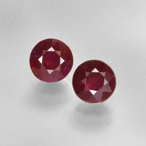 Pinkish Red Ruby Gem - 0.6ct Round Facet (ID: 496697)