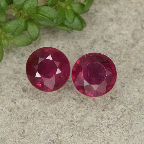 Deep Red Ruby Gem - 0.4ct Round Facet (ID: 496698)
