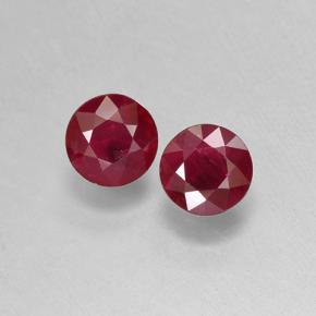 Pinkish Red Ruby Gem - 0.6ct Round Facet (ID: 496702)