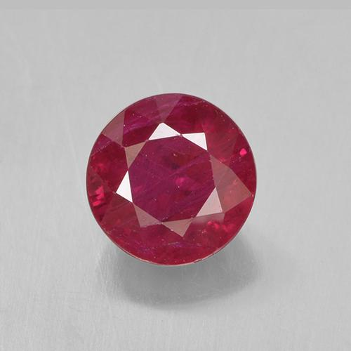 Pinkish Red Ruby Gem - 0.8ct Round Facet (ID: 499446)