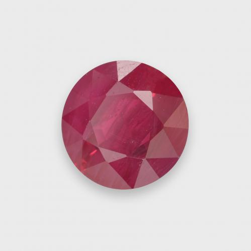 Pinkish Red Ruby Gem - 1.2ct Round Facet (ID: 499498)