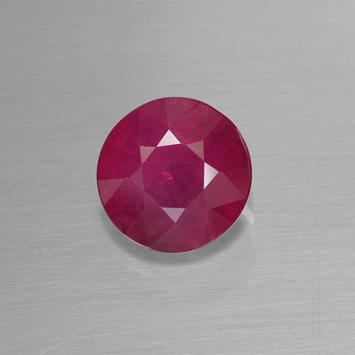 Pinkish Red Ruby Gem - 1.3ct Round Facet (ID: 499499)
