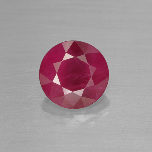 Reddish Pink Ruby Gem - 1.2ct Round Facet (ID: 499504)