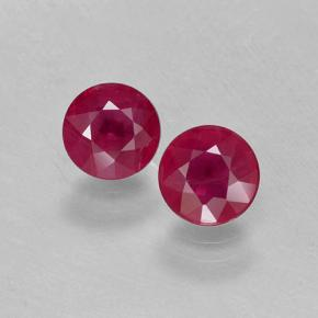 Medium-Dark Red Ruby Gem - 0.6ct Round Facet (ID: 499742)