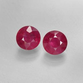 Reddish Pink Ruby Gem - 0.5ct Round Facet (ID: 499745)
