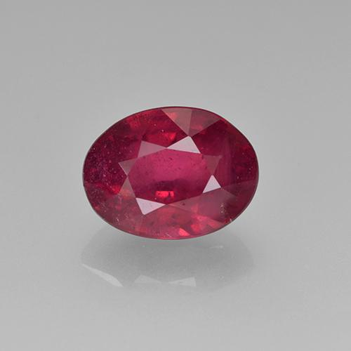Deep Reddish Pink Ruby Gem - 1.8ct Oval Facet (ID: 500739)