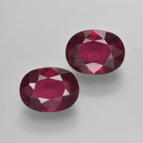 Pinkish Red Ruby Gem - 1.7ct Oval Facet (ID: 501792)
