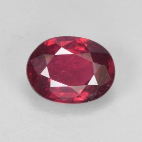 Currant Red ルビー 宝石 - 1.4ct オーバル ファセット (ID: 502646)