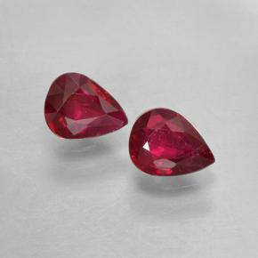 Pinkish Red Ruby Gem - 0.3ct Pear Facet (ID: 503047)