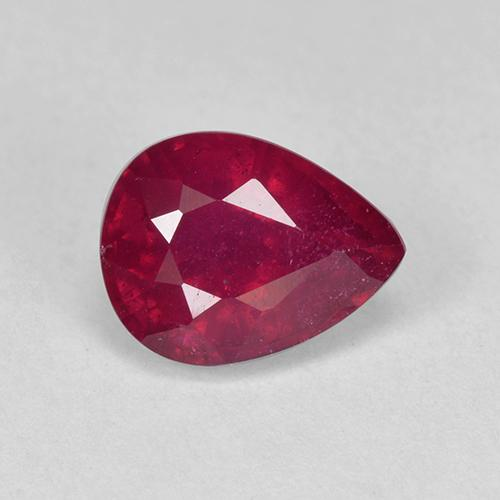 Pinkish Red Ruby Gem - 1.6ct Pear Facet (ID: 512433)