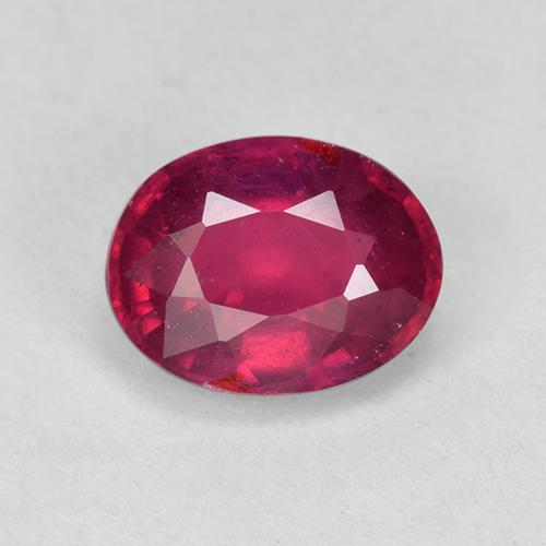 Pinkish Red Ruby Gem - 1.9ct Oval Facet (ID: 512438)
