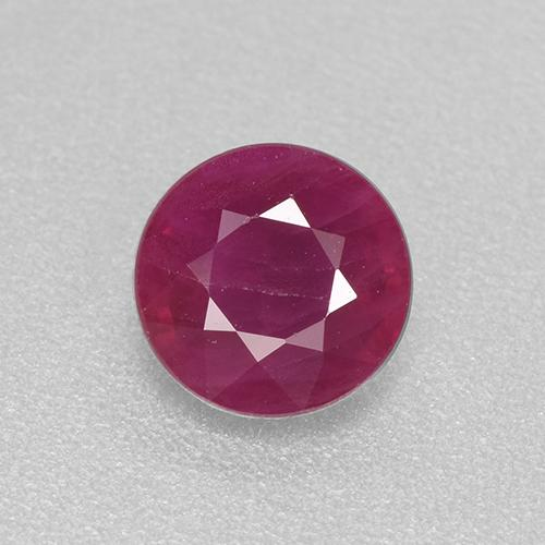 Pinkish Red Ruby Gem - 0.7ct Round Facet (ID: 513077)