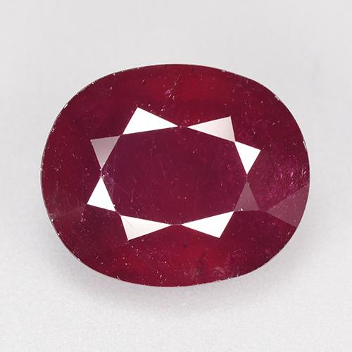 Dark Red Ruby Gem - 11.9ct Oval Facet (ID: 520258)