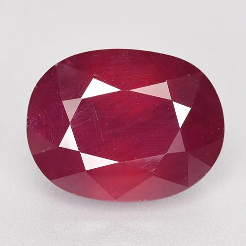 Pinkish Red Ruby Gem - 11.9ct Oval Facet (ID: 520259)