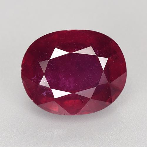 Pinkish Red Ruby Gem - 9.3ct Oval Facet (ID: 520272)