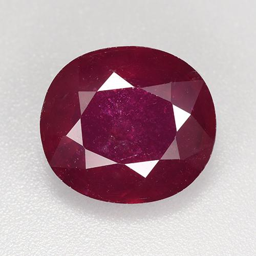 Pinkish Red Ruby Gem - 7.6ct Oval Facet (ID: 520273)