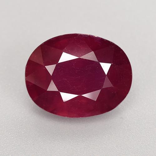 Wine Red Ruby Gem - 7.5ct Oval Facet (ID: 520274)